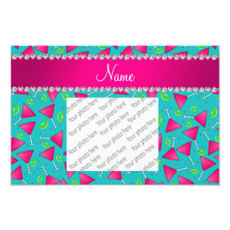 Custom name turquoise pink cosmos limes photo print