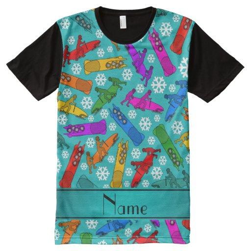 Custom name turquoise rainbow bobsleigh snowflakes all for Print name on shirt