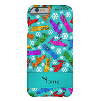 Custom name turquoise rainbow bobsleigh snowflakes barely there iPhone 6 case
