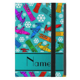 Custom name turquoise rainbow bobsleigh snowflakes cases for iPad mini