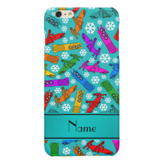 Custom name turquoise rainbow bobsleigh snowflakes glossy iPhone 6 plus case