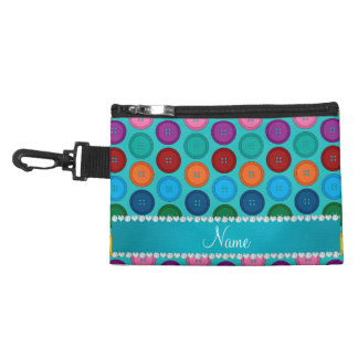 Custom name turquoise rainbow buttons pattern accessory bags