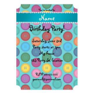 Custom name turquoise rainbow buttons pattern 5x7 paper invitation card