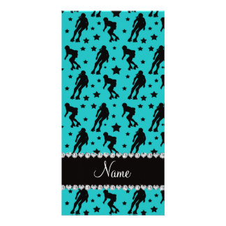 Custom name turquoise roller derby stars photo card