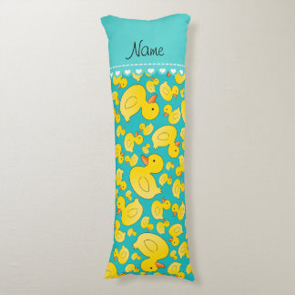 Custom name turquoise rubberducks blue stripe body pillow