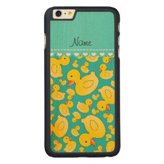 Custom name turquoise rubberducks blue stripe carved® maple iPhone 6 plus slim case