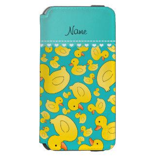 Custom name turquoise rubberducks blue stripe incipio watson™ iPhone 6 wallet case