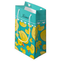 Custom name turquoise rubberducks blue stripe small gift bag