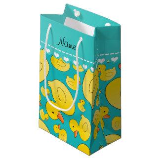 Custom name turquoise rubberducks blue stripe small gift bag