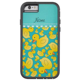 Custom name turquoise rubberducks blue stripe tough xtreme iPhone 6 case