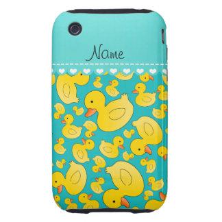 Custom name turquoise rubberducks heart stripe iPhone 3 tough cases
