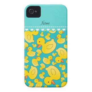 Custom name turquoise rubberducks heart stripe iPhone 4 Case-Mate case