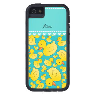 Custom name turquoise rubberducks heart stripe iPhone 5 cover