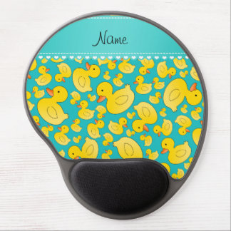 Custom name turquoise rubberducks heart stripe gel mouse pad