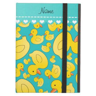 Custom name turquoise rubberducks heart stripe iPad air case