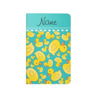Custom name turquoise rubberducks heart stripe journal