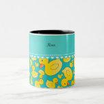 Custom name turquoise rubberducks heart stripe mug