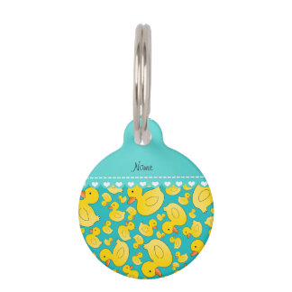 Custom name turquoise rubberducks heart stripe pet tag