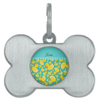 Custom name turquoise rubberducks heart stripe pet name tags