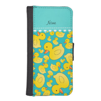 Custom name turquoise rubberducks heart stripe iPhone 5 wallet