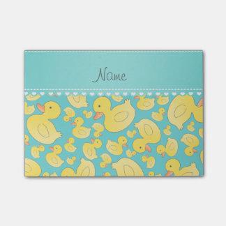Custom name turquoise rubberducks heart stripe post-it® notes