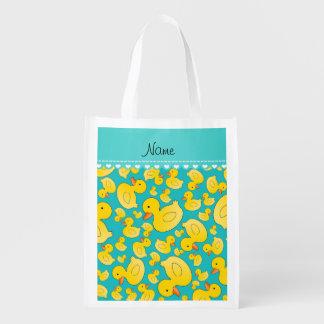 Custom name turquoise rubberducks heart stripe grocery bag