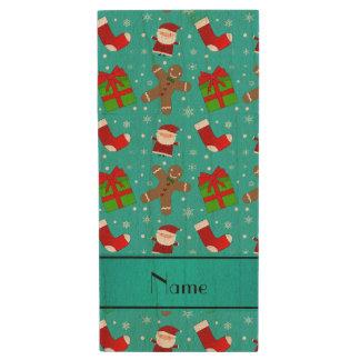 Custom name turquoise santas gingerbread wood USB 2.0 flash drive