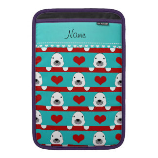 Custom name turquoise seals red hearts stripes MacBook sleeves