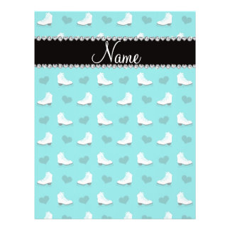 "Custom name turquoise skates and hearts 8.5"" x 11"" flyer"