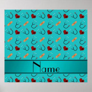 Custom name turquoise stethoscope bandage heart poster