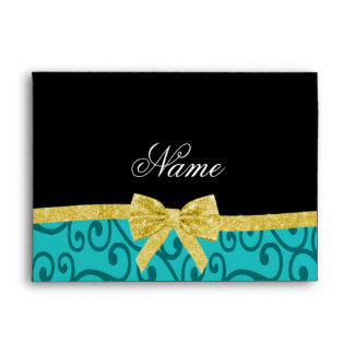 Custom name turquoise swirls gold bow envelope