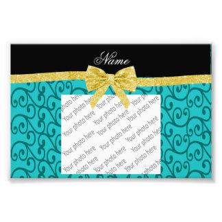 Custom name turquoise swirls gold bow photo