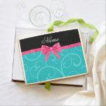 Custom name turquoise swirls pink glitter bow jumbo cookie
