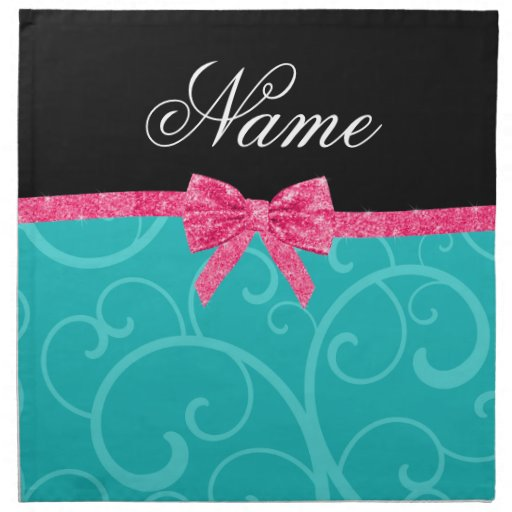 Custom name turquoise swirls pink glitter bow printed napkins