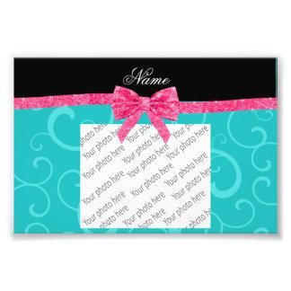 Custom name turquoise swirls pink glitter bow photo print