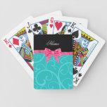Custom name turquoise swirls pink glitter bow card deck