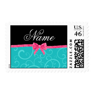 Custom name turquoise swirls pink glitter bow stamps