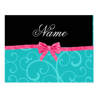 Custom name turquoise swirls pink glitter bow post cards