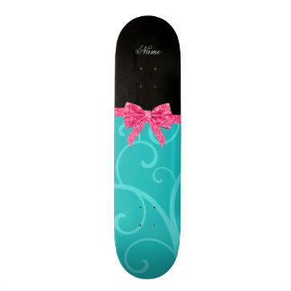 Custom name turquoise swirls pink glitter bow custom skateboard