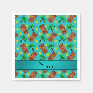 Custom name turquoise tiki pineapples palm trees paper napkin