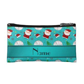 Custom name turquoise volleyball christmas pattern makeup bag