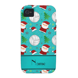 Custom name turquoise volleyball christmas pattern iPhone 4 cases