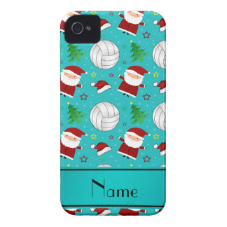 Custom name turquoise volleyball christmas pattern Case-Mate iPhone 4 cases