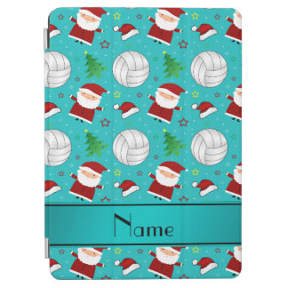 Custom name turquoise volleyball christmas pattern iPad air cover