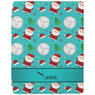 Custom name turquoise volleyball christmas pattern iPad cover