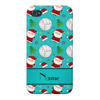 Custom name turquoise volleyball christmas pattern iPhone 4/4S covers