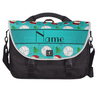 Custom name turquoise volleyball christmas pattern bags for laptop
