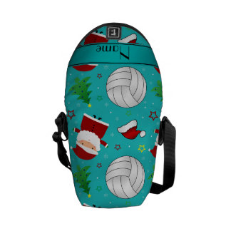 Custom name turquoise volleyball christmas pattern courier bag