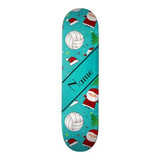 Custom name turquoise volleyball christmas pattern skate board
