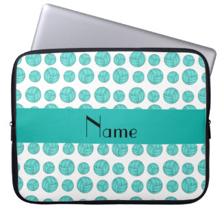 Custom name turquoise volleyball pattern computer sleeve
